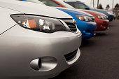 istock New Subaru Vehicles in a line 458068105