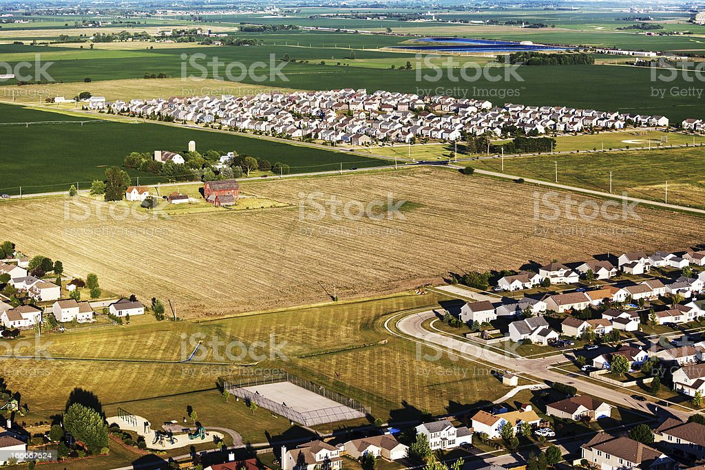 New subdivisions on Northern Illinois farmland stock photo