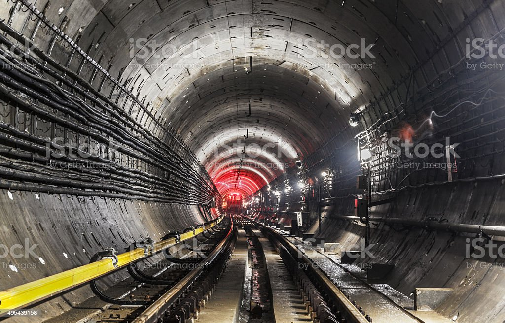 New subway tunnel stock photo