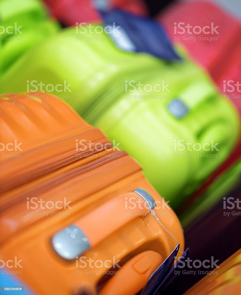 New suitcases of different colors royaltyfri bildbanksbilder