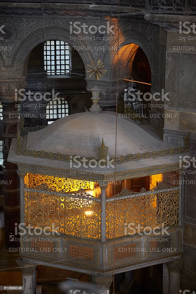 A new sultan's lodge in the interior of Hagia Sophia stock photo