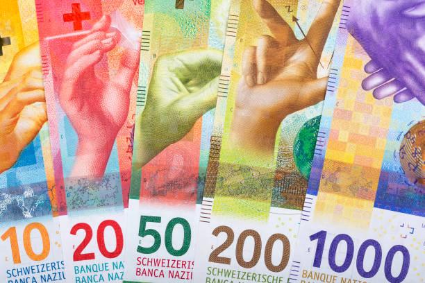 nieuwe zwitserse franken, een zakelijke achtergrond - franken stockfoto's en -beelden
