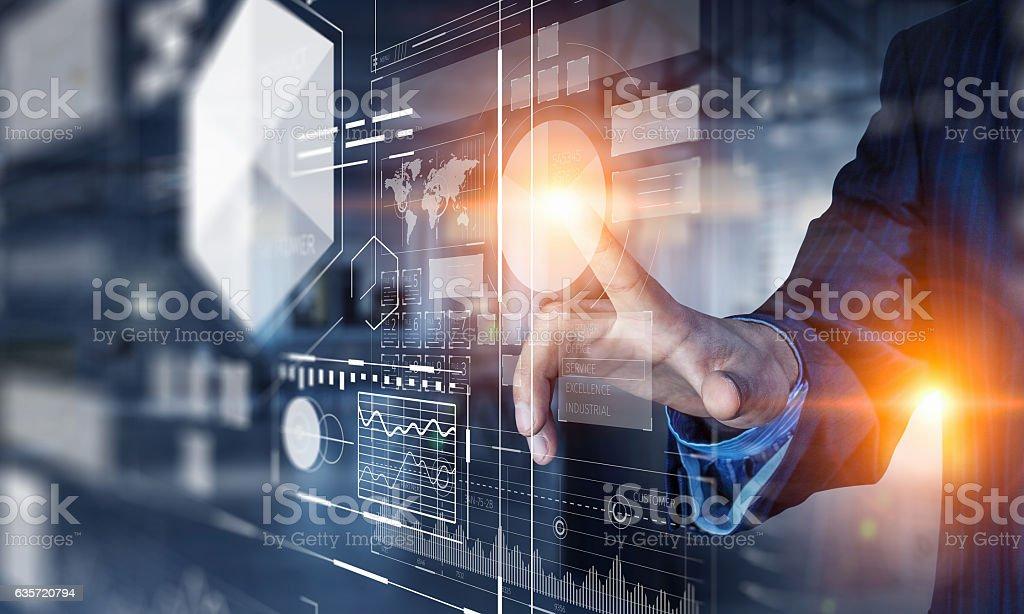 Nuove tecnologie per il attività commerciale. Tecnica mista - Foto stock royalty-free di Adulto