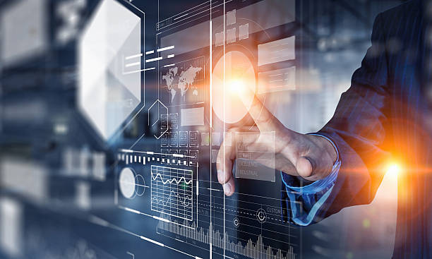 Nuove tecnologie per il attività commerciale. Tecnica mista - foto stock
