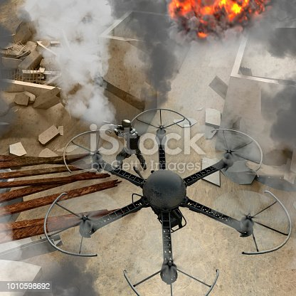New technologies to be used in specialized military operations. War drones. Debris, war zone with soldiers, buildings, bombings, terrorism. Military in combat actions. 3d rendering