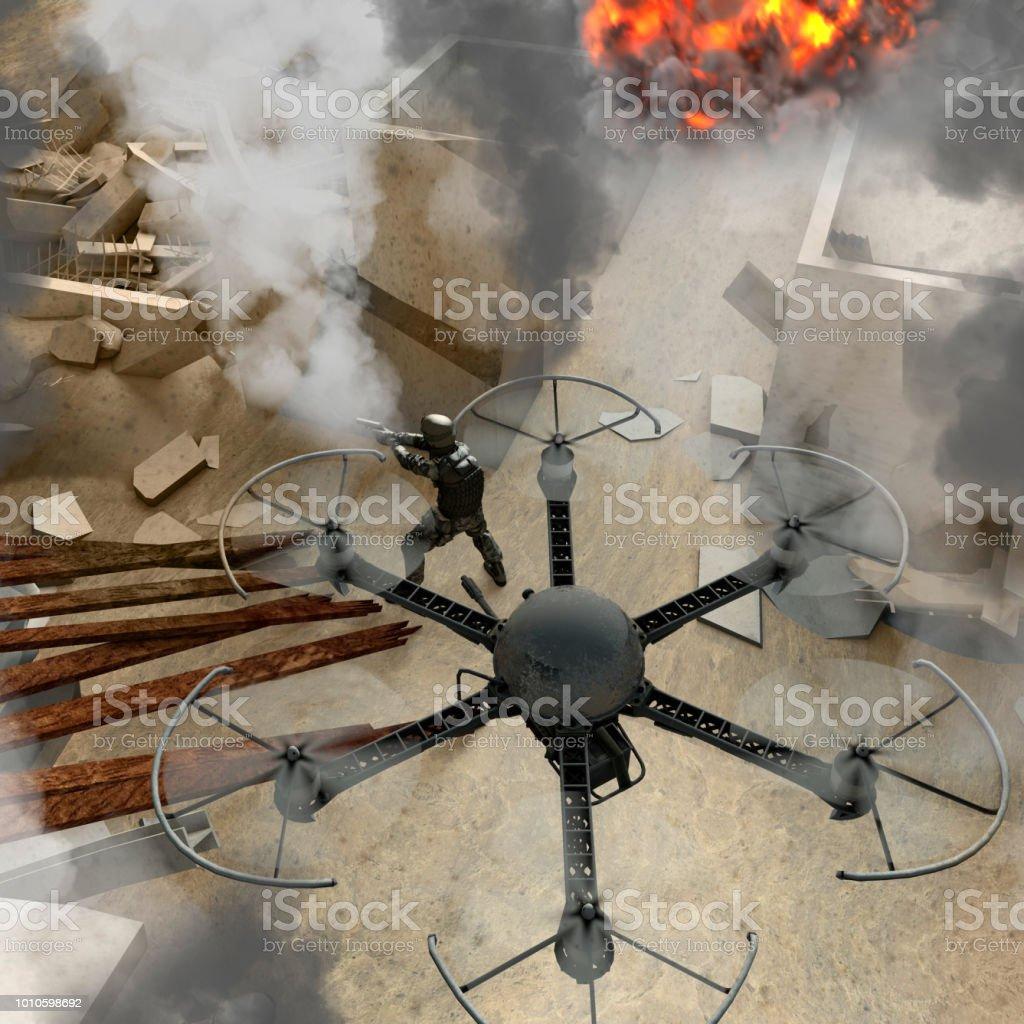 Neue Technologien in speziellen militärischen Operationen verwendet werden. Krieg-Drohnen. Schutt, Kriegsgebiet mit Soldaten, Gebäude, Bombardierungen, Terrorismus. Militär in Kampfhandlungen – Foto
