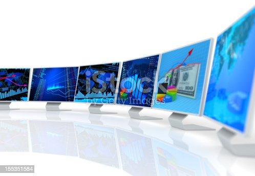 155351584istockphoto New technology of PC monitors with business charts 155351584