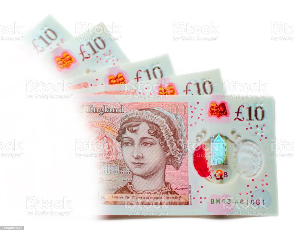 UK new ten pound notes fifty pounds stock photo