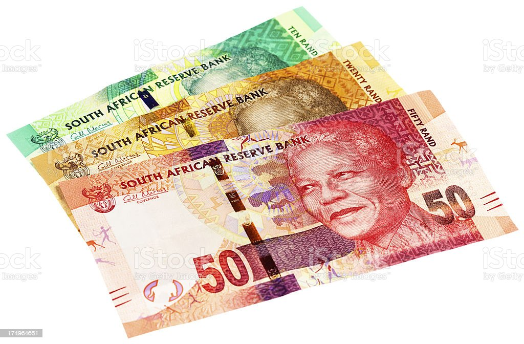 New Ten, Twenty and Fifty Rand South African banknotes stock photo