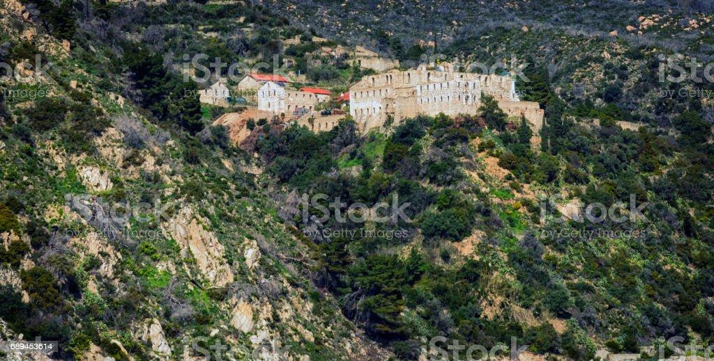New Thebais medieval monastery ruins in Holy Mount Athos stock photo