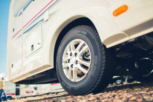New Tires For RV Camper Van New Tires For RV Camper Van. Taking Care of Motorhome and Travel Trailer Tires. motor home stock pictures, royalty-free photos & images