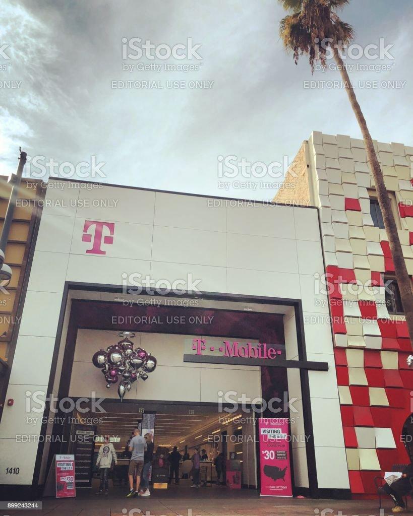New T-Mobile store recently opened on Third Street Promenade, Santa Monica, USA stock photo