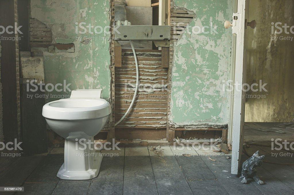 Neue Toiletten im verlassener Badezimmer – Foto