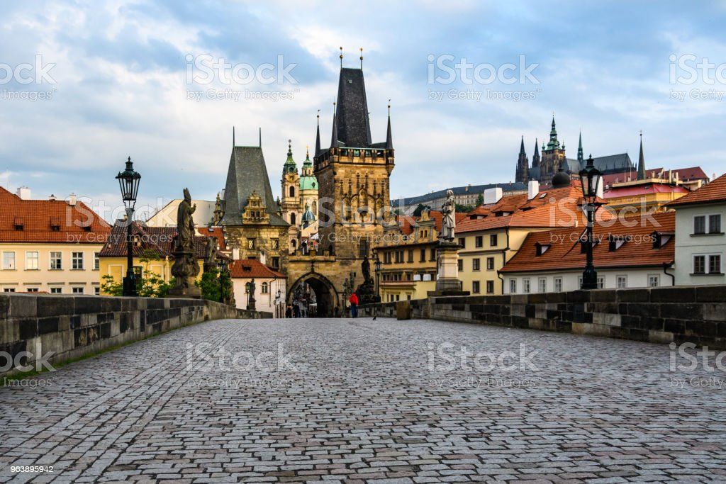 New Town Bridge Tower in the Charles Bridge at dawn in Prague, Czech Republic - Royalty-free Architecture Stock Photo