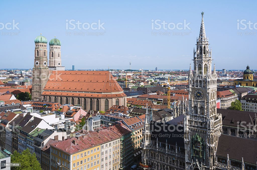 New Town Hall and Frauenkirche at Marienplatz in Munich, Germany royalty-free stock photo