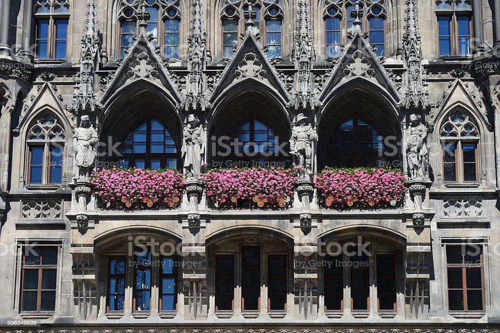New Town Hall architecture detail in Marienplatz, Munich, German royalty-free stock photo