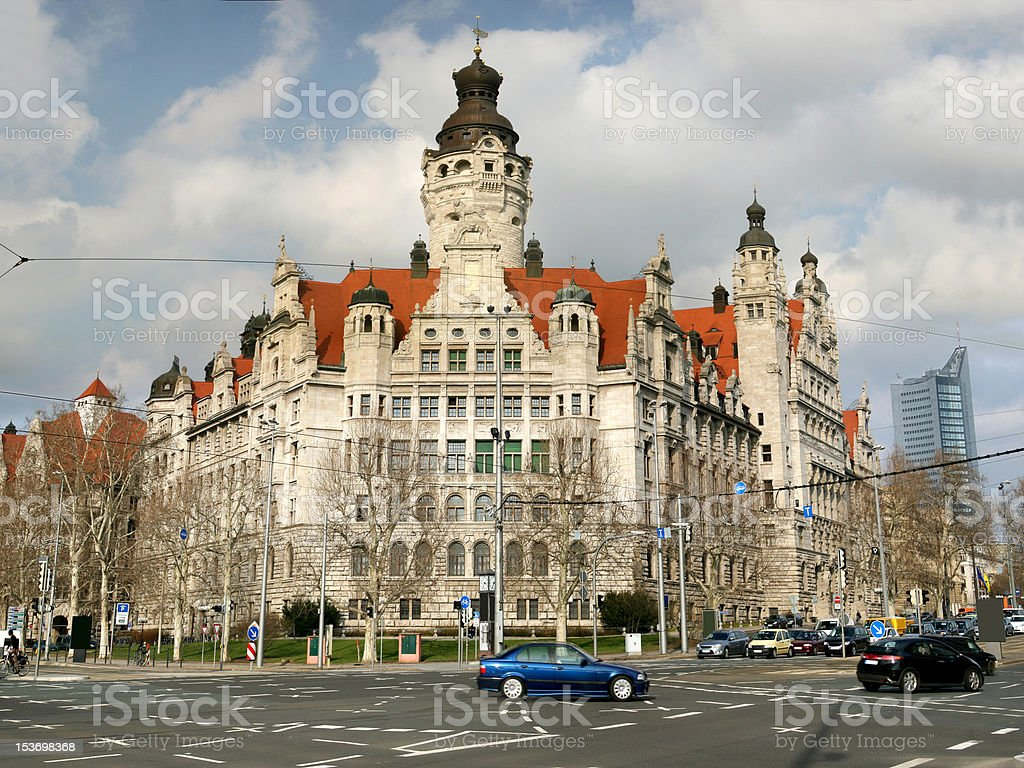 Neues Rathaus in Leipzig stock photo