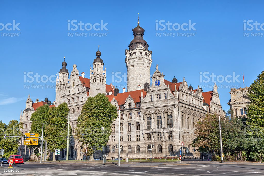 New town hall (Neues Rathaus) in Leipzig stock photo