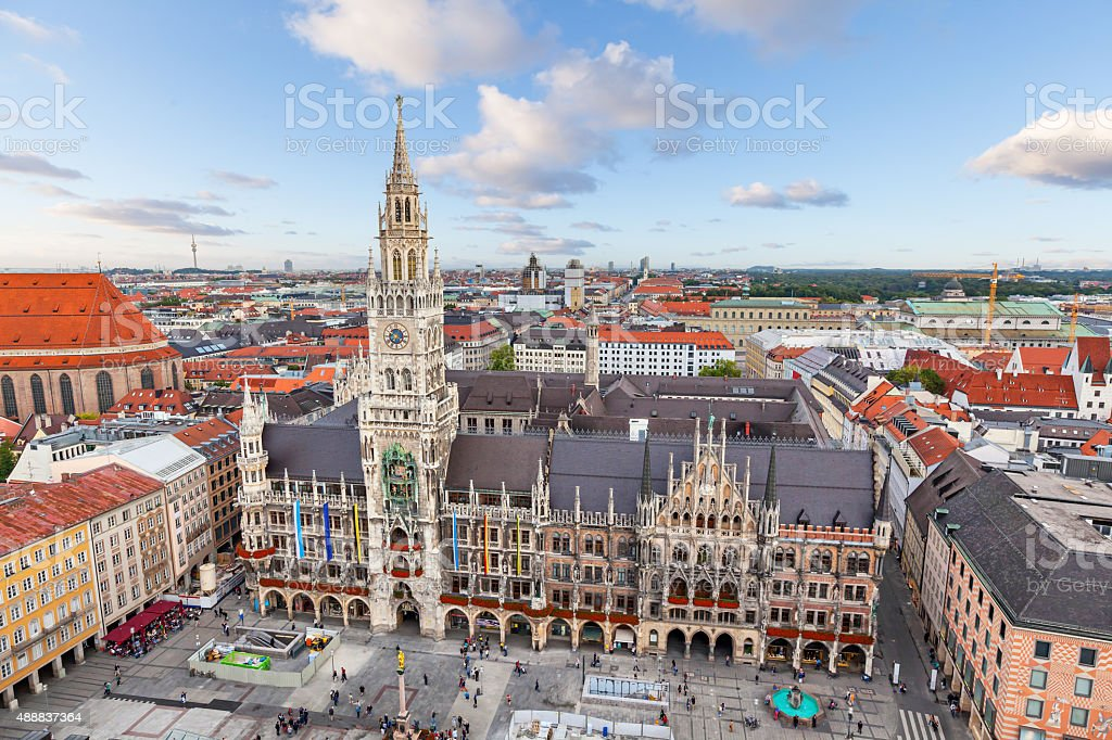 New Town Hall on Marienplatz square in Munich stock photo