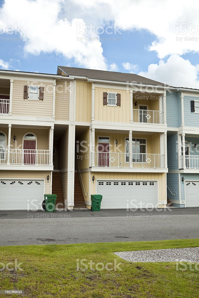 New Town Homes with Garage and Porch in South Carolina stock photo