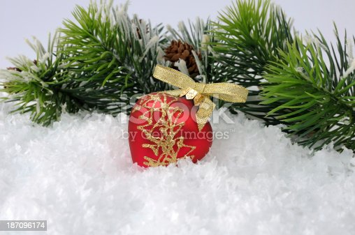 istock New toy in the snow against  backdrop of pine branches 187096174