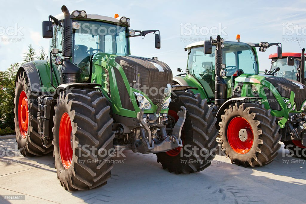 New tractors for sell stock photo