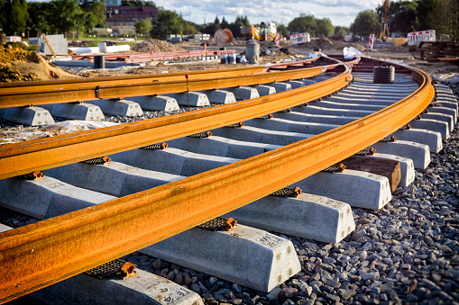 New tram line under construction, Szczecin, Poland