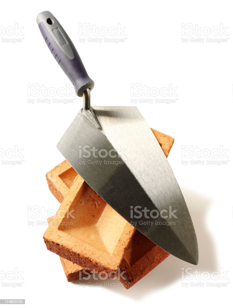 New Trowel with Building Bricks royalty-free stock photo