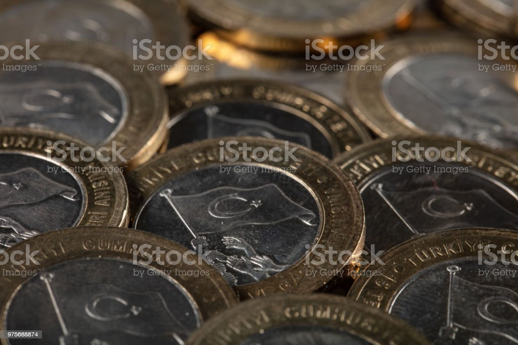 New Turkish 1 Lira coins for Commemoration of 15th July Victory of Democracy and the Martyrs stock photo
