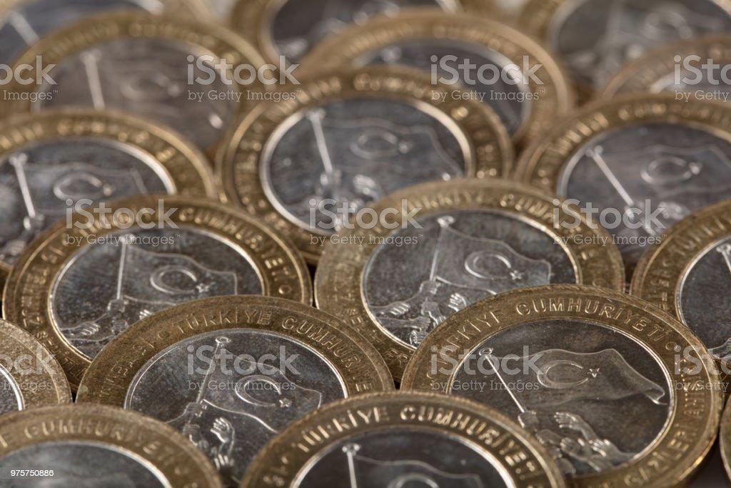 Neue türkische 1-Lira-Münzen zum Gedenken an 15. Juli Sieg der Demokratie und der Märtyrer - Lizenzfrei Bank Stock-Foto