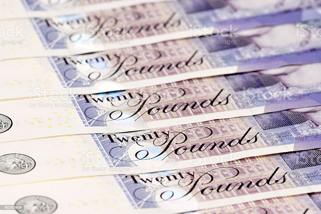 New Twenty pound Notes royalty-free stock photo