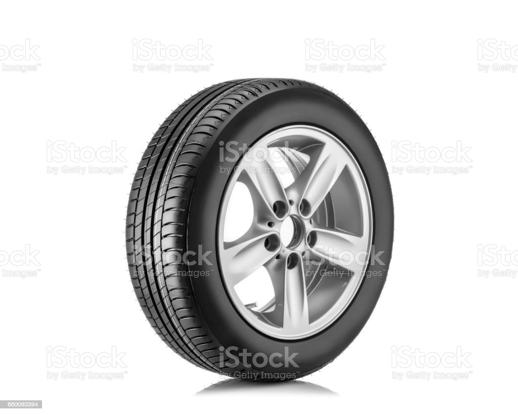 new tyre isolated on white background stock photo