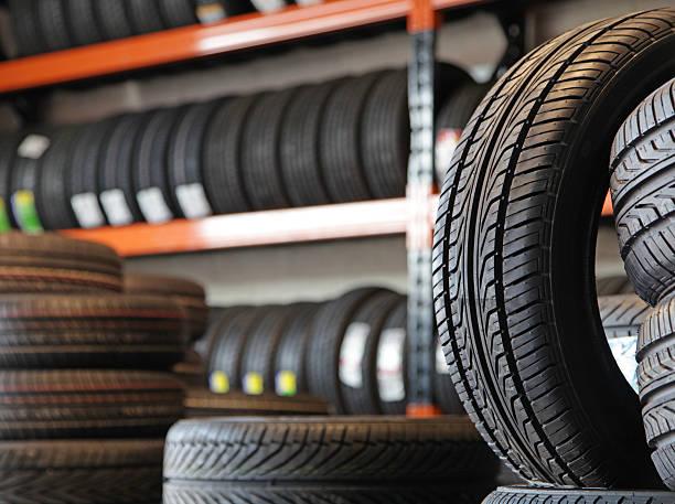 new tyres stock photo