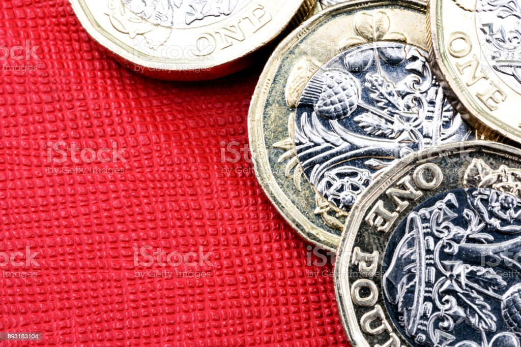 New UK One Pound Coin Currency stock photo