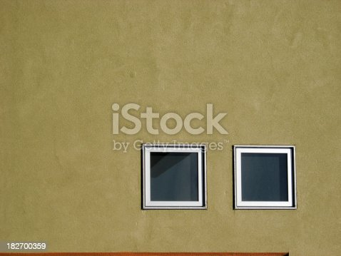 Wall with square windows.