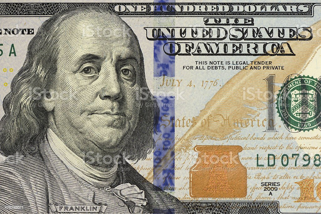 New US $100 Bill Close-up stock photo
