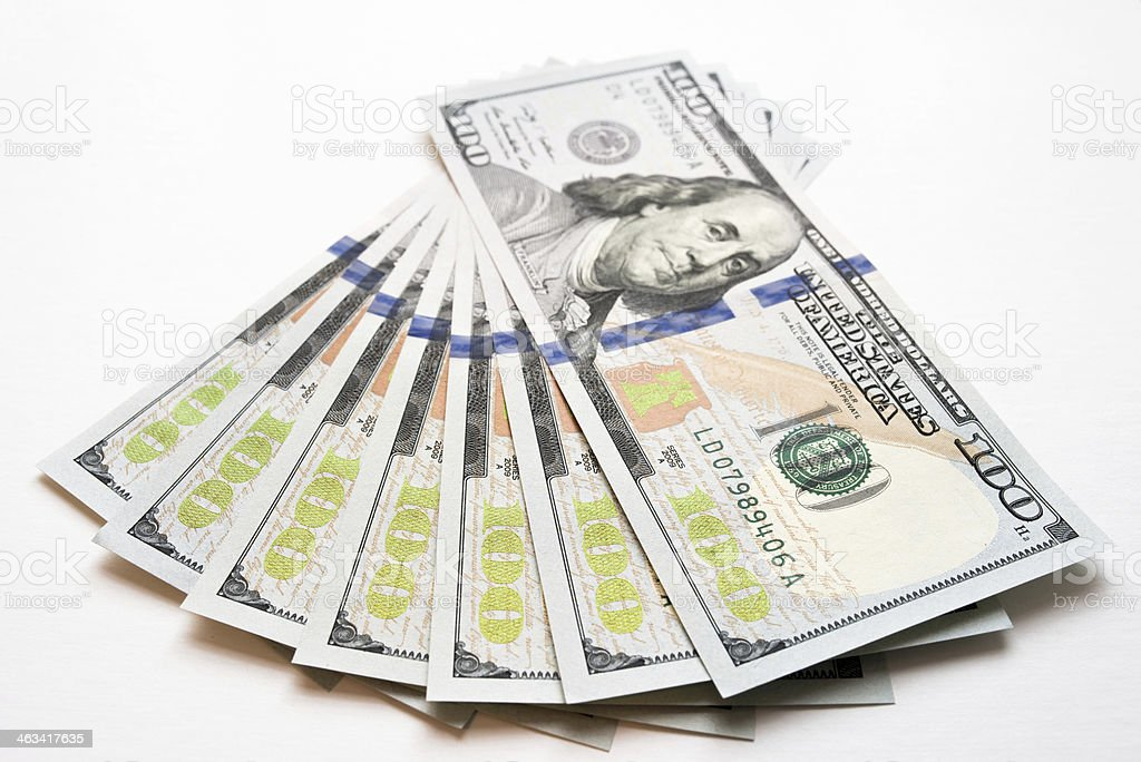 New US $100 Bills Fanned Out stock photo