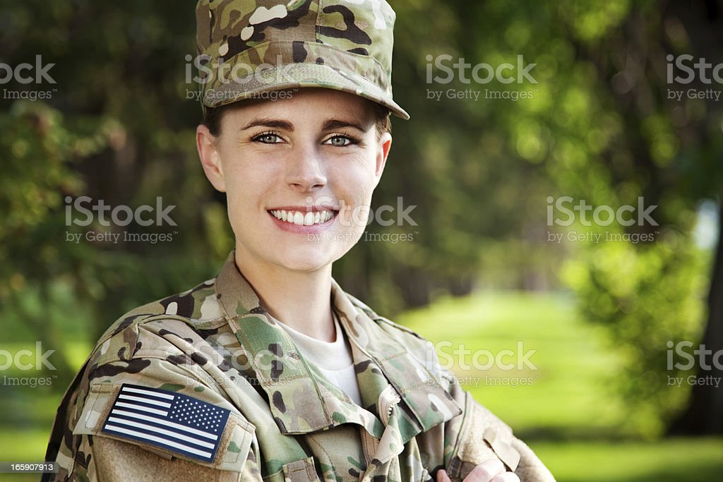 New US Army Multicam Uniform Series: Female American Soldier stock photo