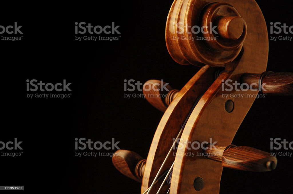 New Violin Scroll Cropped with Rosewood Tuning Pegs on Black royalty-free stock photo