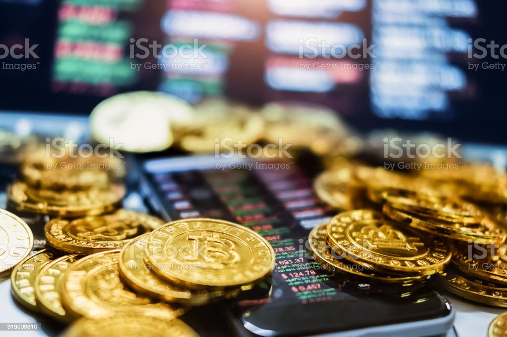 New virtual money concept, Gold Bitcoins ( btc )  is Digital crypto-currency use blockchain Technology for stock photo