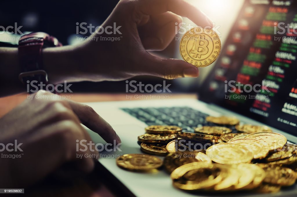 New virtual money concept, Gold Bitcoins ( btc )  is Digital crypto-currency use blockchain Technology for New virtual money concept, Gold Bitcoins ( btc )  is Digital crypto-currency use blockchain Technology for  Coin Stock Photo