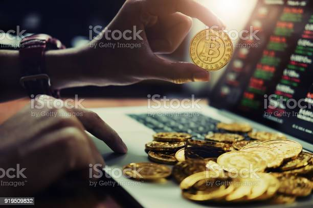 New Virtual Money Concept Gold Bitcoins Is Digital Cryptocurrency Use Blockchain Technology For Stock Photo - Download Image Now
