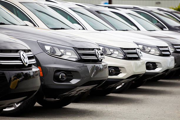 New Volkswagen Tiguan Vehicles in a Row stock photo
