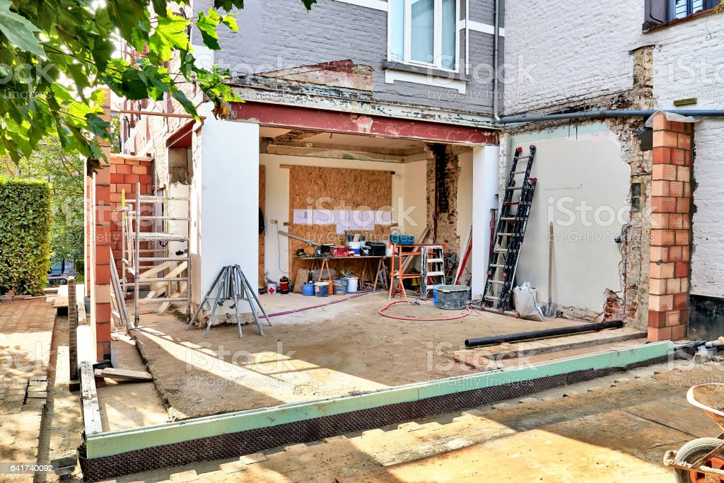 New wall for a modern extension stock photo