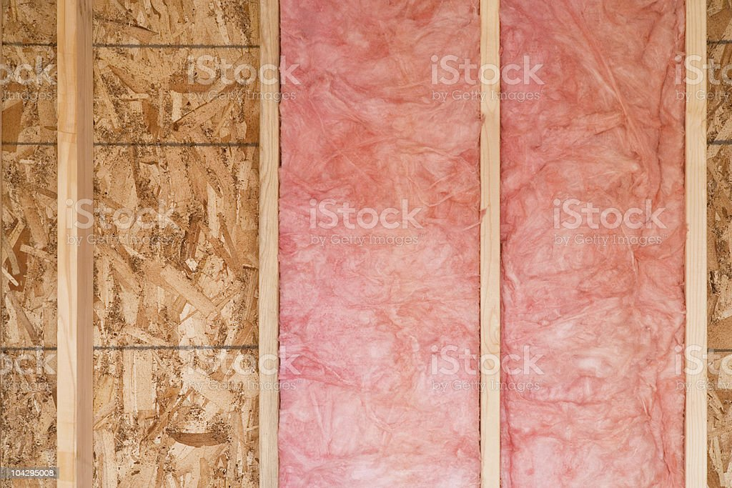 New Wall With Fiberglass Insulation stock photo