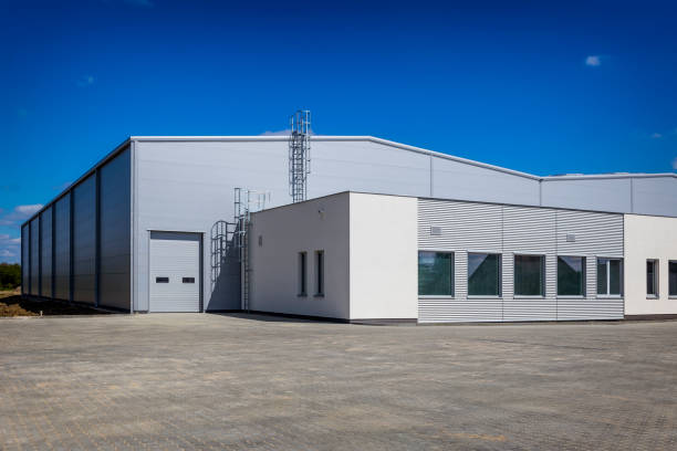 nieuwbouw magazijn - industriegebied stockfoto's en -beelden