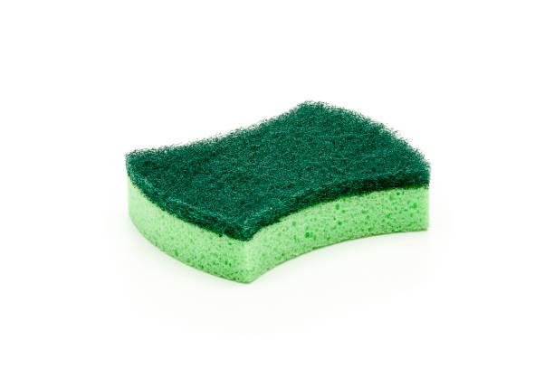 new washing sponge isolated on white background - spugna per le pulizie foto e immagini stock