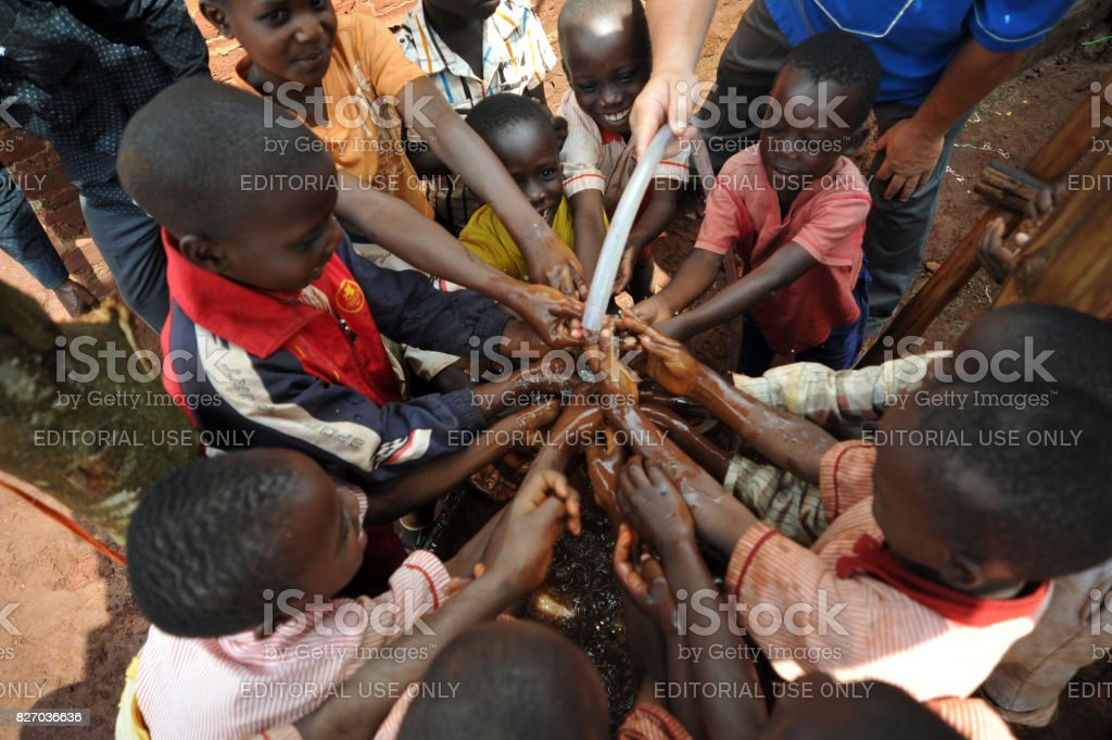 New water for orphanage in Africa stock photo