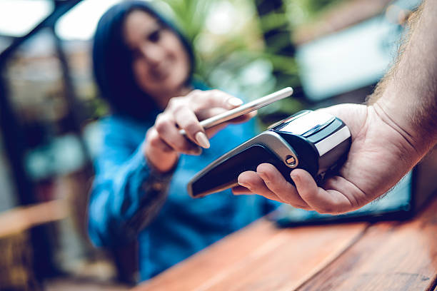 New Way of Mobile Payment Systems, Paying with Smartphone bildbanksfoto