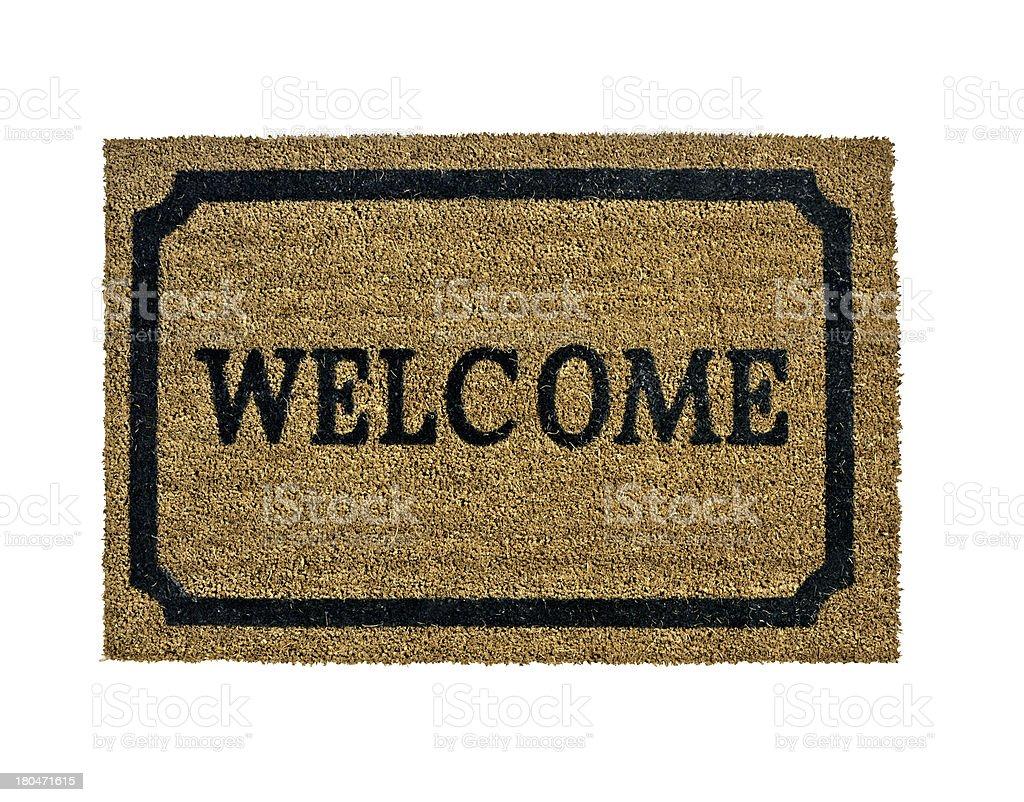 new welcome doormat isolated stock photo
